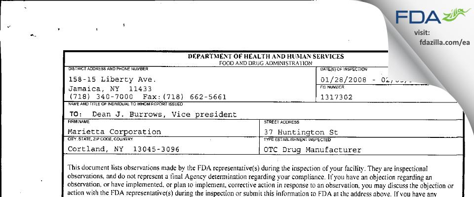 Marietta FDA inspection 483 Feb 2008