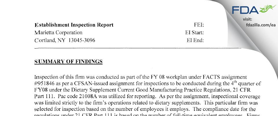 Marietta FDA inspection 483 Aug 2008