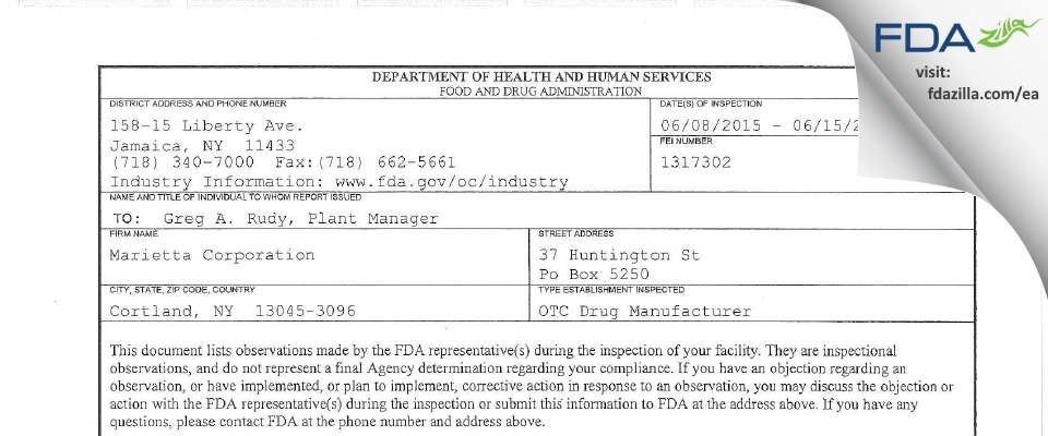 Marietta FDA inspection 483 Jun 2015