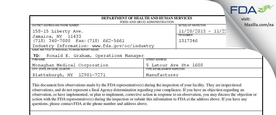 Monaghan Medical FDA inspection 483 Nov 2013
