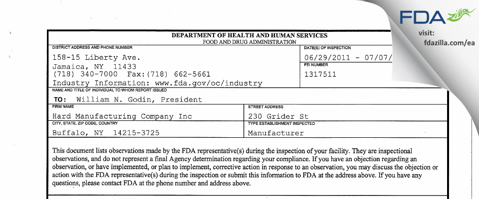 Hard Manufacturing FDA inspection 483 Jul 2011