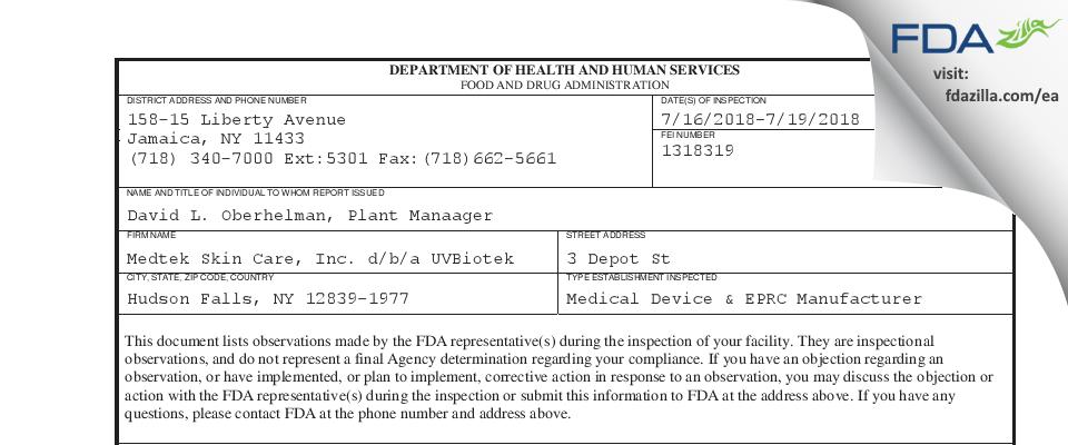 Medtek Skin Care d/b/a UVBiotek FDA inspection 483 Jul 2018