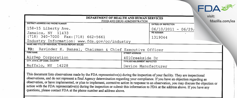 AirSep FDA inspection 483 Jun 2011