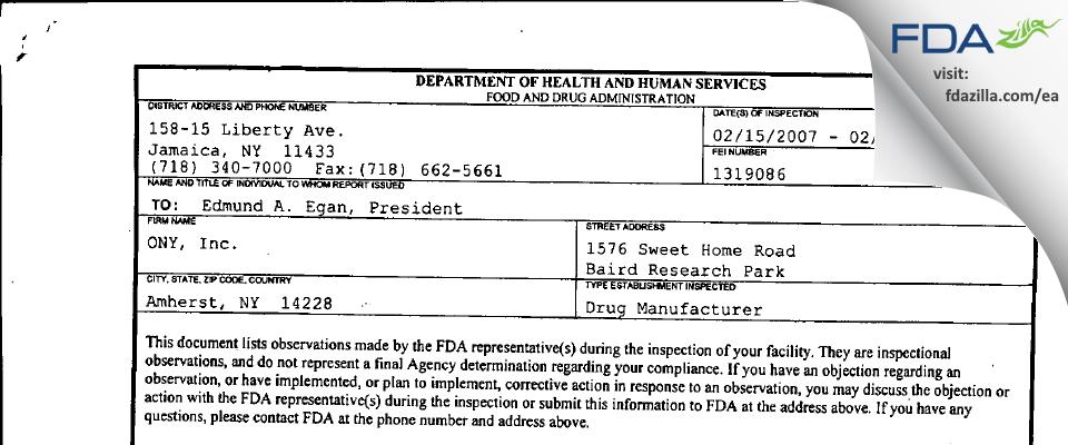 ONY Biotech FDA inspection 483 Feb 2007