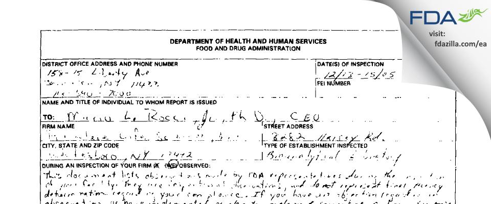 ICON Laboratory Services FDA inspection 483 Dec 2005