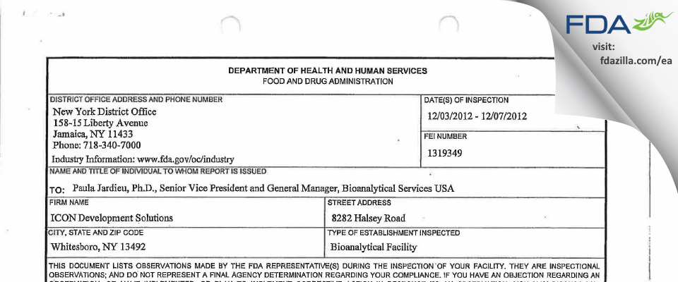 ICON Laboratory Services FDA inspection 483 Dec 2012