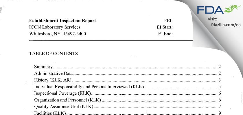 ICON Laboratory Services FDA inspection 483 Jun 2015
