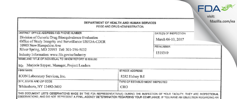 ICON Laboratory Services FDA inspection 483 Mar 2017