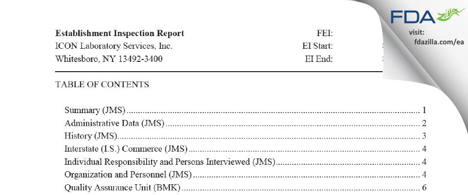 ICON Laboratory Services FDA inspection 483 Aug 2018