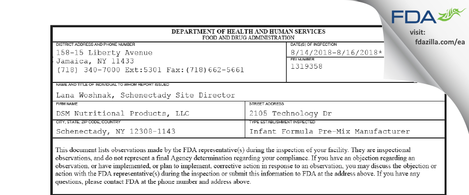 DSM Nutritional Products FDA inspection 483 Aug 2018