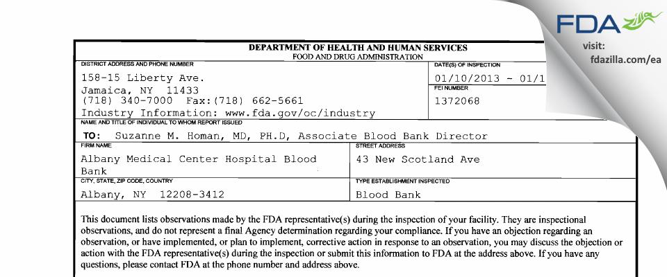 Albany Medical Center Hospital Blood Bank FDA inspection 483 Jan 2013