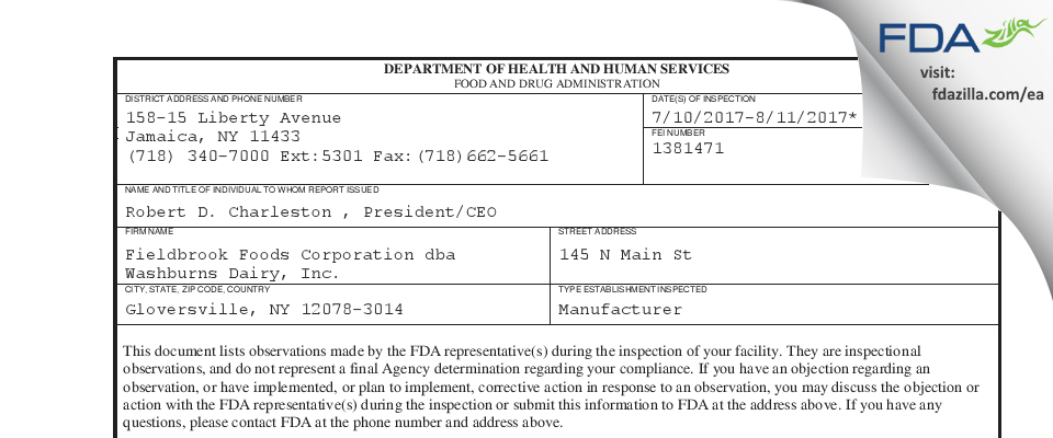 Fieldbrook Foods FDA inspection 483 Aug 2017