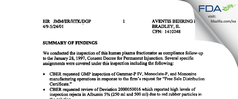 CSL Behring FDA inspection 483 May 2001