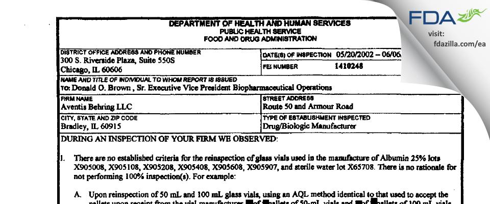 CSL Behring FDA inspection 483 Jun 2002