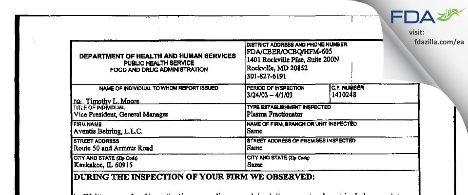 CSL Behring FDA inspection 483 Apr 2003