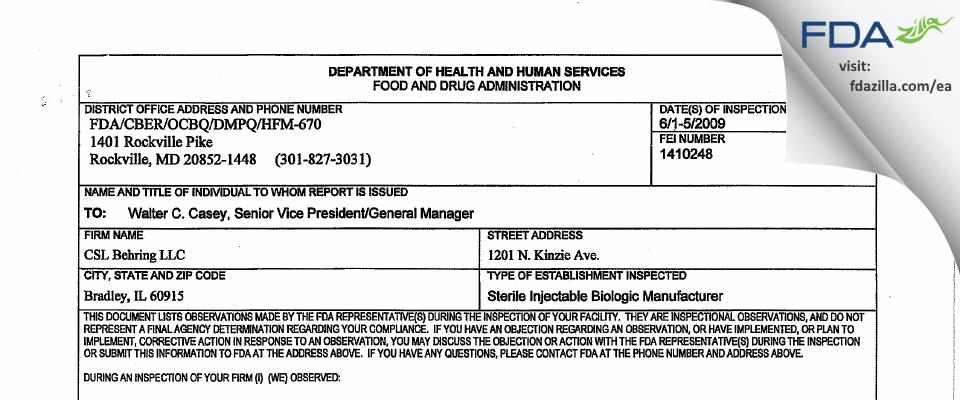 CSL Behring FDA inspection 483 Jun 2009