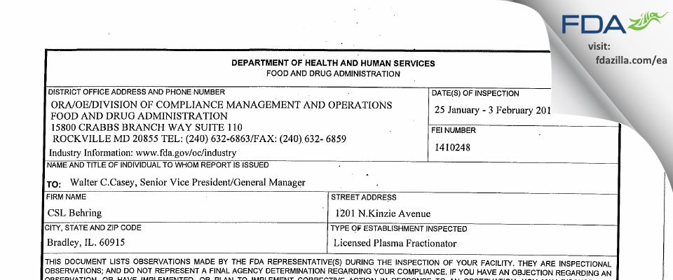 CSL Behring FDA inspection 483 Feb 2011