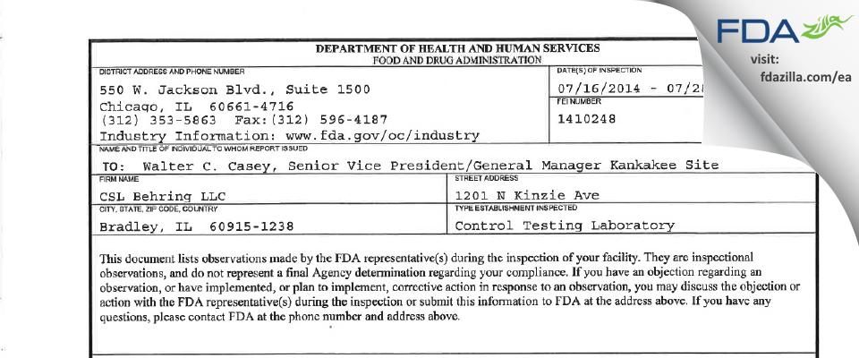 CSL Behring FDA inspection 483 Jul 2014