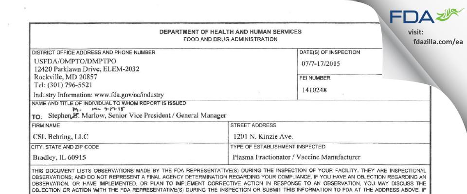 CSL Behring FDA inspection 483 Jul 2015