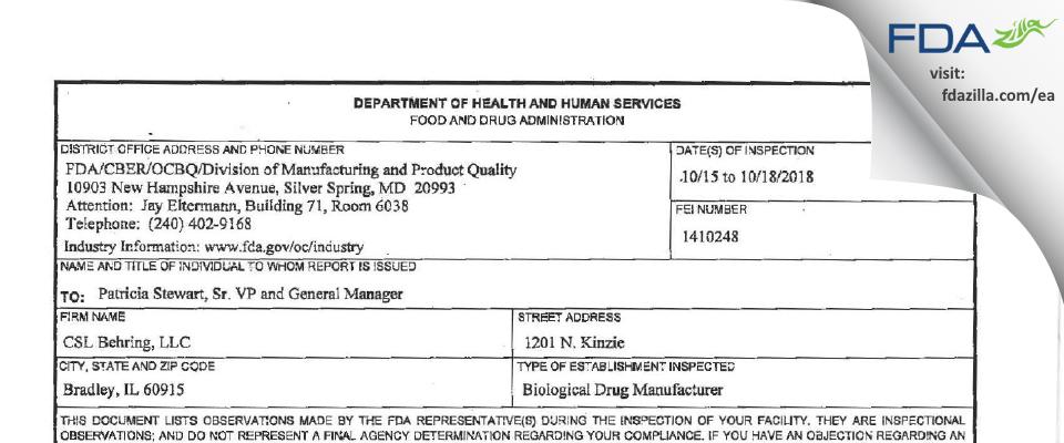 CSL Behring FDA inspection 483 Oct 2018