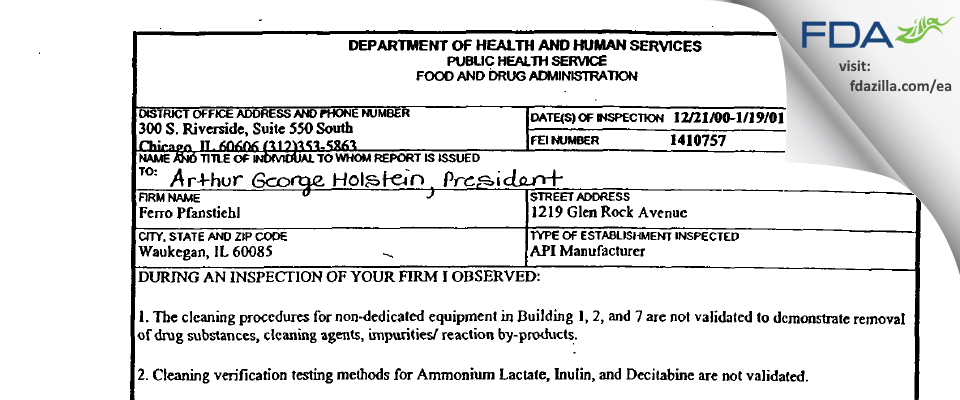 Pfanstiehl FDA inspection 483 Jan 2001