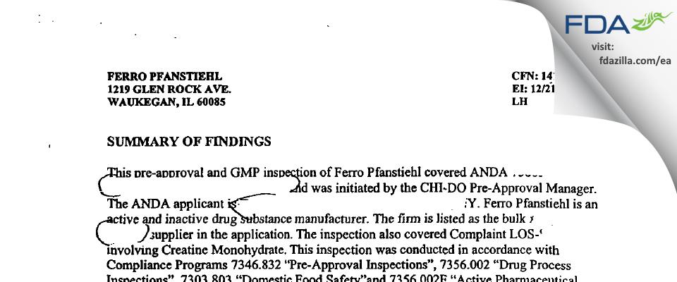 Pfanstiehl FDA inspection 483 Jan 2001