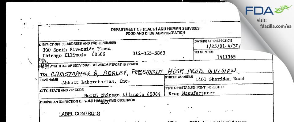 AbbVie FDA inspection 483 Apr 2001
