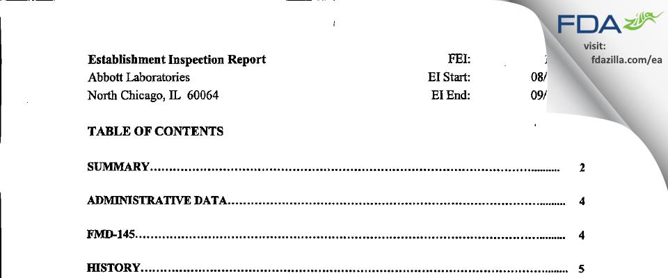 AbbVie FDA inspection 483 Sep 2003