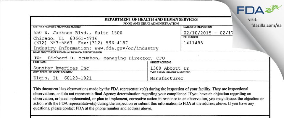 Sunstar Americas FDA inspection 483 Feb 2015