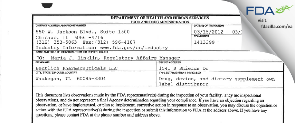 Beutlich Pharmaceuticals FDA inspection 483 Mar 2012