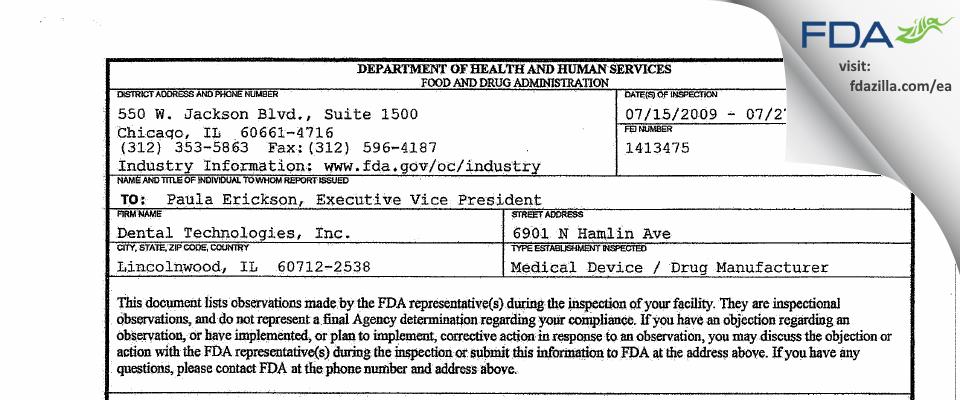 Dental Technologies FDA inspection 483 Jul 2009