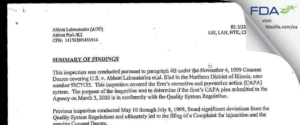 Abbott Labs FDA inspection 483 Mar 2000