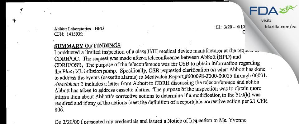 Abbott Labs FDA inspection 483 Apr 2000