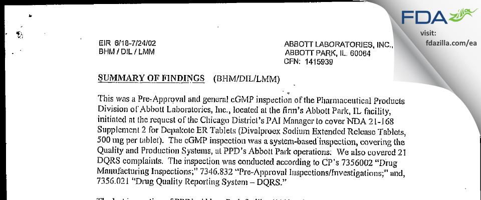 Abbott Labs FDA inspection 483 Jul 2002