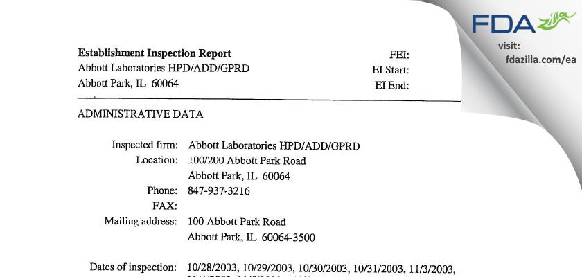 Abbott Labs FDA inspection 483 Nov 2003