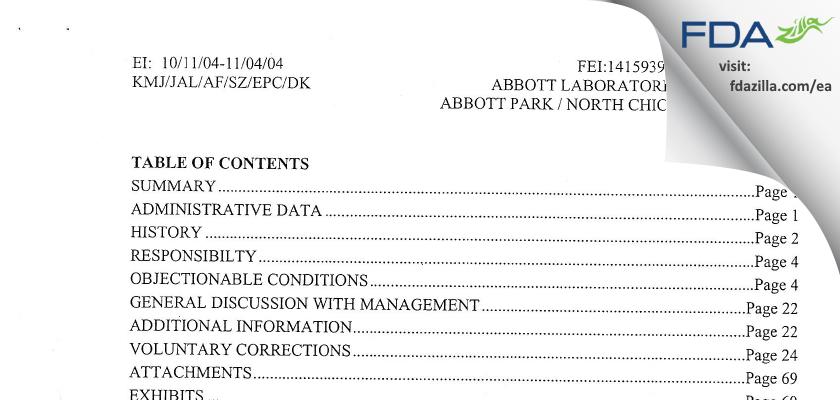 Abbott Labs FDA inspection 483 Nov 2004