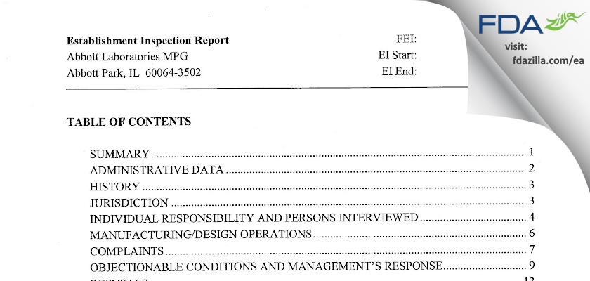 Abbott Labs FDA inspection 483 Jul 2005
