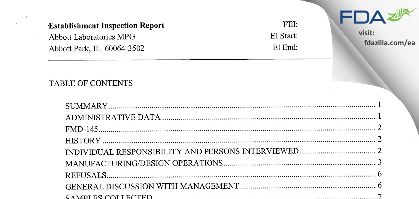 Abbott Labs FDA inspection 483 Oct 2005