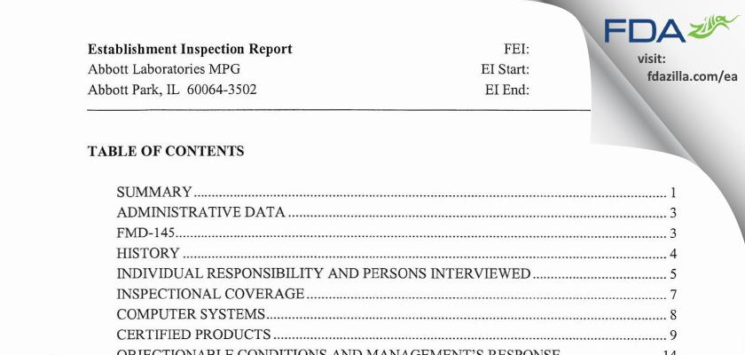 Abbott Labs FDA inspection 483 Nov 2005