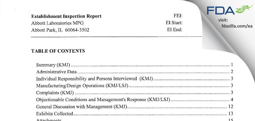 Abbott Labs FDA inspection 483 May 2006