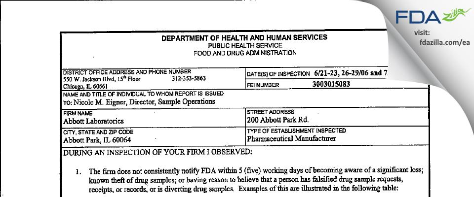 Abbott Labs FDA inspection 483 Jul 2006