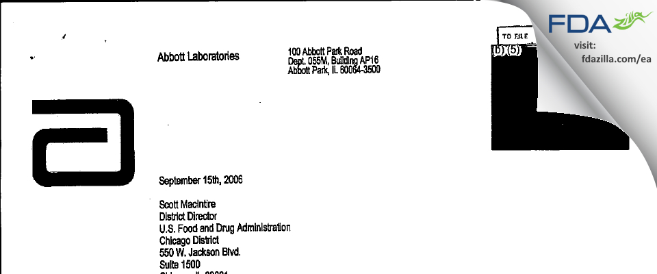 Abbott Labs FDA inspection 483 Sep 2006