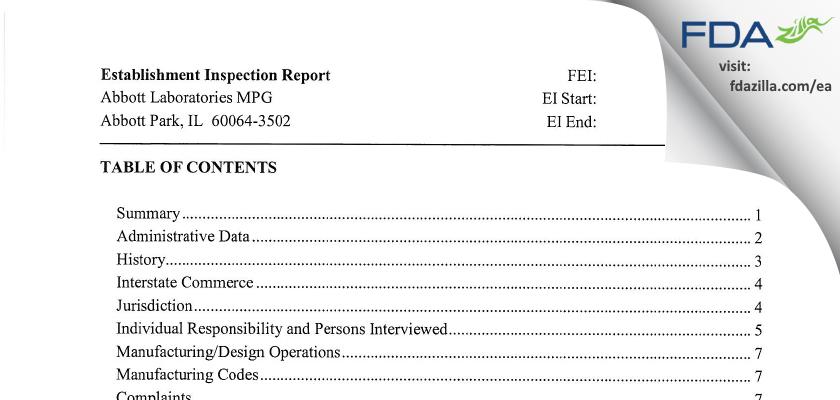 Abbott Labs FDA inspection 483 Nov 2006