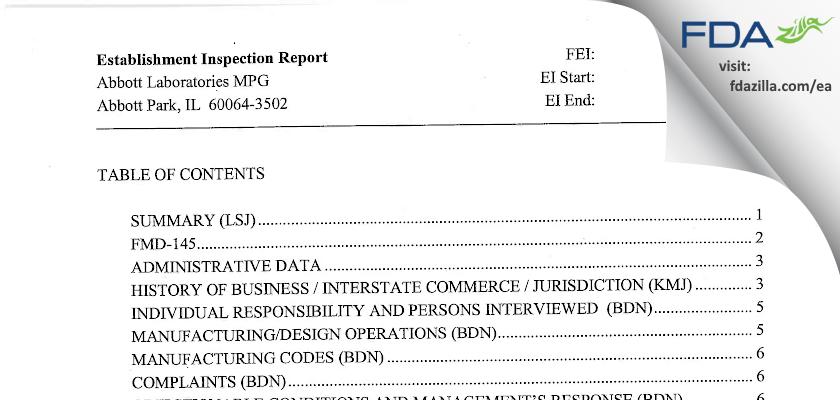 Abbott Labs FDA inspection 483 May 2007