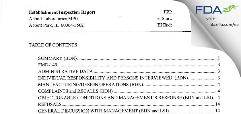 Abbott Labs FDA inspection 483 Sep 2007