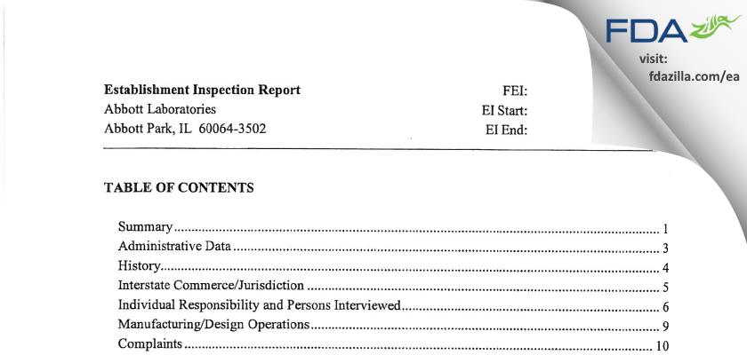 Abbott Labs FDA inspection 483 Dec 2008