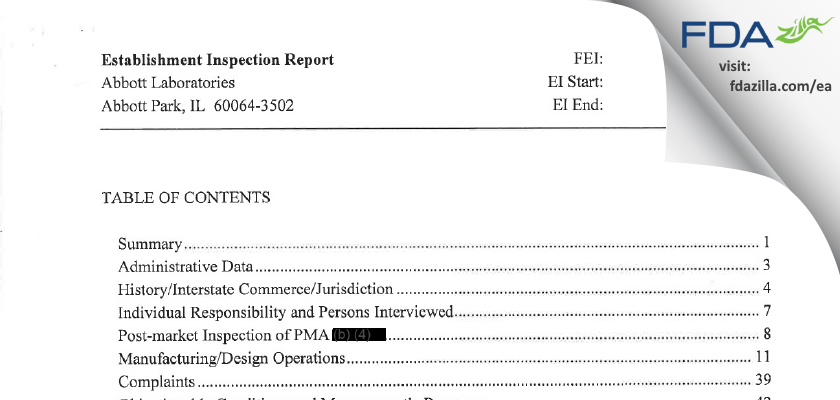 Abbott Labs FDA inspection 483 Aug 2010
