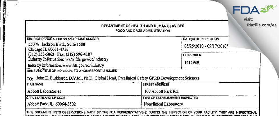 Abbott Labs FDA inspection 483 Sep 2010