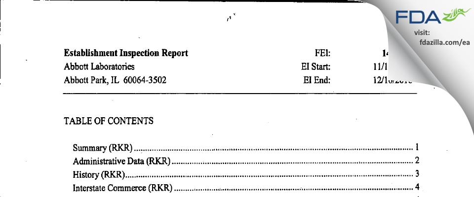 Abbott Labs FDA inspection 483 Dec 2010