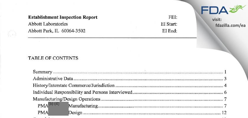 Abbott Labs FDA inspection 483 Nov 2011